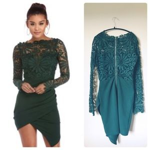 Windsor emerald green ruched laced dress